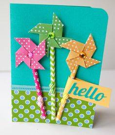 Hello featuring Queen & Co Stylish Stix and Adhesive Pinwheels - Scrapbook.com