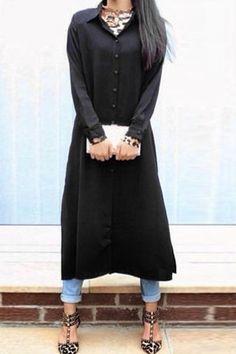 Shirt Collar Single-Breasted Chiffon Dress