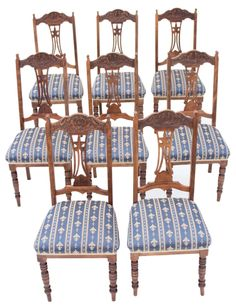 Set of 8 Edwardian satinwood beech dining chairs Art Nouveau