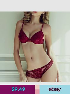 4b395d413c Intimates   Sleep Women Lace Bra Set Underwire Plunge Push Up Gather  Lingerie   Thin Lace Knickers