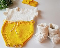 Organic cotton baby outfit, Hand knitted/crochet short baby romper for unisex baby, baby shower gift, photography prop Winter Baby Clothes, Knitted Baby Clothes, Crochet Clothes, Crochet Romper, Newborn Crochet, Baby Animal Costumes, Crochet Design, Spanish Baby Clothes, Organic Cotton Yarn