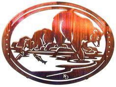 Bear Family Fishing Oval Frame-style Laser Cut Metal Wall Art