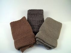 Dishcloths Knit in Cotton in Taupe, Black/Taupe and MissionOak, Knit Washcloths, Washcloth, Cotton Dishcloth