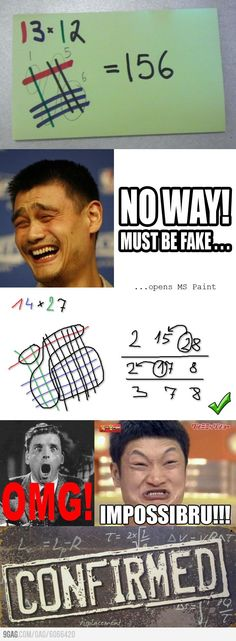 Japanese Multiplication Trick Confirmed - where was this when I was learning math? Multiplication Tricks, Teaching Math, Math Teacher, Teaching Tips, Teacher Appreciation, Mind Blown, Life Lessons, Funny Pictures, Funny Pics