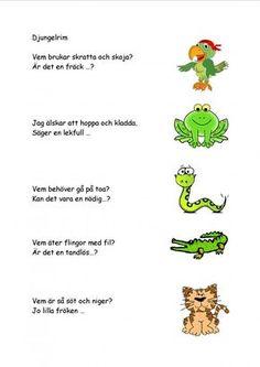 Mariaslekrum - Illustrerade rimramsor. Fall Preschool, Preschool Games, Activities For Kids, Learn Swedish, Swedish Language, Toddler Fun, Kids Corner, Kids And Parenting, School Supplies