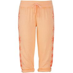 maurices Ethnic Print Side Burnwash Cropped Sweatpant ($6.25) ❤ liked on Polyvore featuring activewear, activewear pants, pants, sparkling apricot, tribal sportswear, cropped sweat pants, sweat pants, cotton sweat pants and maurices