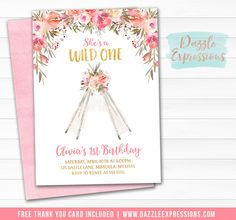 Printable Floral Lace Teepee Birthday Invitation | Wild One | Watercolor Pink and Gold Girls 1st Birthday | Tribal Party | Tee Pee Tent | Banner | Food Labels | Favor Tag Signs | Photo Props | Thank You Card | Party Package Decor