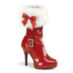 iese@gmx.com$80 Merry 215 Pleaser Funtasma Christmas Mrs Santa Red Patent Boot. Features Faux white fur trim, rhinestone buckle and Red ribbon bow.
