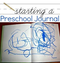 Starting a journal with your preschooler enhances early literacy learning and works kids' fine motor skills. Preschool Journals, Preschool Lessons, Early Literacy, Preschool Kindergarten, Preschool Learning, Literacy Activities, Early Learning, Preschool Ideas, Writing Activities For Preschoolers