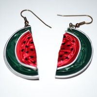 Watermelon earrings made with Nespresso Capsules. Source: artesanio