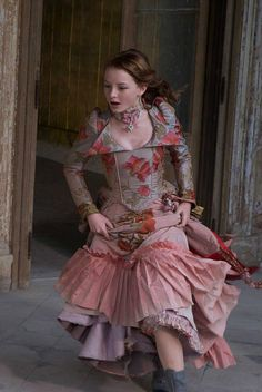 Maria's roses gown from The Secret of Moonacre. Costume design by Beatrix Aruna Pastzor I love the costumes in this movie!!!