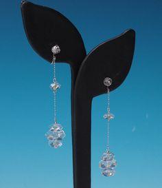 Art Deco Rock Crystal Earrings Long Dangle Drop by PastSplendors