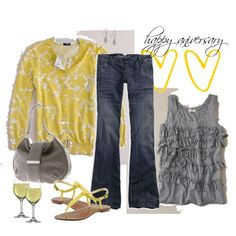 I'm not sure what I love more....the yellow sweater....or the fact that this outfit includes wine??---too bad it's white wine :(