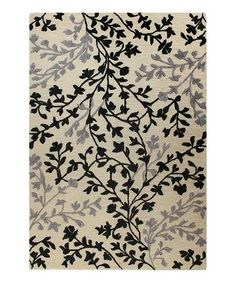 Take a look at this Ivory & Black Swaying Branches Rug by Bashian on #zulily today!