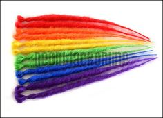 Single ended dread extensions - rainbow dreads - set of 12 - red, orange, yellow, green, blue, purple