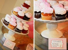 Cupcakes at a Pink Baby Shower #pink #babyshower