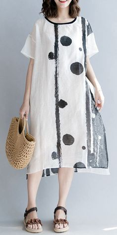 SUMMER LOOSE COTTON LINEN WHITE DRESS WOMEN CASUAL CLOTHES Q1865