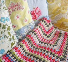 Granny Square Blanket , gorgeous color combo