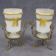 """PAIR VINTAGE CONTINENTAL GILT DECORATED BRISTOL GLASS VASES WITH STANDS. HEIGHT 5 1/2"""""""