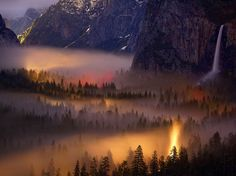 Picture of lights and mist seen from Tunnel Overlook, Yosemite Valley, at night (National Geographic)