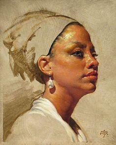 """Orejona Ashton"" - Anthony Ryder (b. 1957), oil on paper, 2013 {figurative art female head profile woman face portrait painting #loveart} tonyryder.com"
