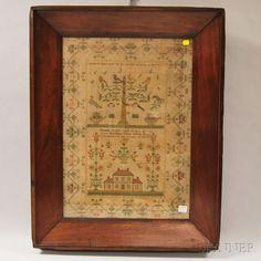 Framed 19th Century Sampler, Hannah Hutton, Kestones Seminary Union School, Yarmouth, Durham, Skinner Auctioneers, MA