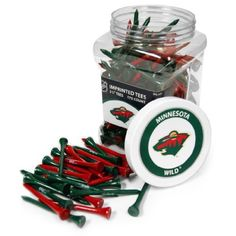 "NHL Minnesota Wild 175 Tee Jar by Team Golf. $24.99. Tees are imprinted with school name. Tees are 2-3/4"" in length. Two tee colors per school. School labels on the front and top of jar. Officially licensed product. Jar includes 175 multi-colored 2-3/4"" regulation tees with team imprint. Includes screw on lid, with team labels on the front and top. A great way to tee up your next ball."