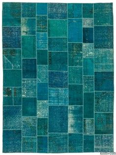 Over-dyed Turkish Patchwork Rug / Blue / Turquoise
