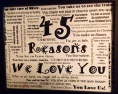 For my husband's 45th birthday my kids came up with 45 reasons why we love him.
