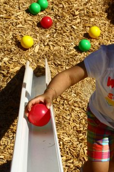 Gutters make great ramps on a playground Apple Activities, Toddler Activities, Outdoor Activities, Kids Indoor Playground, Natural Playground, Playground Ideas, Outdoor Toys, Outdoor Play, Outdoor Stuff