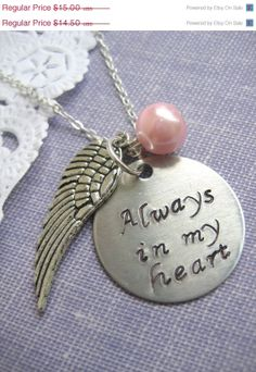 30% off SALE Loss, Miscarriage, Infant, Pregnancy Loss,Remembrance Necklace. Always In My heart Handstamped Charm, Angel Wing Glass Pearl B. $10.50, via Etsy.