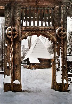 Traditional wooden gate,Maramures county, Romania