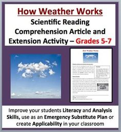 How Weather Works - Fully editable, Science Reading Comprehension Activity - Disciplinary Literacy for Grades 5-7 (ages 10-12) as well as older students with lower developed learning levels. Tackle literacy and science by having your students read and answer questions from a scientific article. Questions include knowledge (direct from the paper), thinking, connecting and open-ended varieties.