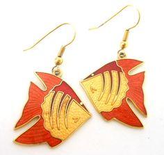 Vintage Cloisonne Fish Dangle Earrings Orange Yellow Unknown Signature - ET128. $9.00, via Etsy.