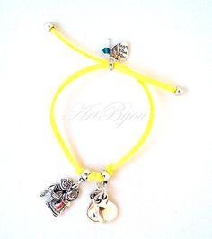 Bettelarmbänder - Adjustable Zamak Yellow Leather Bracelet, Women - ein Designerstück von ArtBijou bei DaWanda