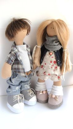 The two textile dolls in love Kirill and Inna от XeniArt, $300.00
