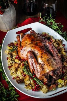 Captains Table Christmas // Rum-and-Pomegranate Glazed Roast Duck with Boozy Chestnut-Apple Stuffing alternative christmas dinner Goose Recipes, Duck Recipes, Turkey Recipes, Meat Recipes, Chicken Recipes, Cooking Recipes, Thanksgiving Truthan, Thanksgiving Dinner Recipes, Holiday Recipes