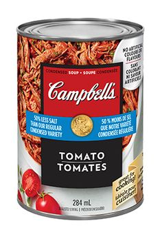 soupe condensée Tomates 25 % moins de sodium, de CAMPBELL'S® Coffee Cans, Canning, Drinks, Food, Sauces, Pulled Pork, Yummy Recipes, Salt, Tomatoes