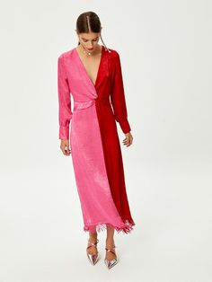 Mioh - Bicolor Polyester Knotted Dress With Fringes - M - Pink/Red Knot Dress, Dress Skirt, Dress Up, Wrap Dress, Suit Fashion, Fashion Dresses, Fashion Moda, Cute Dresses, Beautiful Dresses