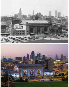 """15 Likes, 1 Comments - Union Station (@unionstationkc) on Instagram: """"Then and Now: Union Station and Downtown Kansas City skyline, 1935 and 2017. 2017 photo by Calvin…"""""""