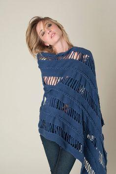 Nomad scarf indigo Large wool shawl Plus Size shawl by texturable