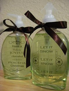 $1 bottle of soap from walmart, remove the sticker label that comes on it, replace with holiday scrapbook sayings stickers, tie with a ribbon. Great and cute gift!
