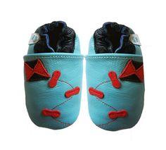Acogedoras y suaves zapatos de cuero para bebé niño con suela de gamuza Dotty Fish Diseño De Cometa – 6-12 Meses – Azul Claro