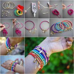 idea per realizzare braccialetti estivi con cotone colorato e piccoli pendenti | #comefarea #idee #bracciale #faidate #diy | DIY Colorful Summer Wrap Bangles