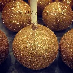 Gold Glitter Cake Pops...These would be great for a holiday party!
