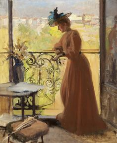 Lady on the Balcony, La Parisienne, 1884 by Albert Gustaf Aristides Edelfelt (Finnish painter), 1854 - 1905 Chur, Oil Painting Reproductions, Art Themes, Woman Painting, Beautiful Paintings, Art Blog, Art History, Balcony, Windows
