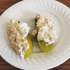 tuna salad with mayo and a diced egg on top of a sliced dill pickle. Credit: low_carb_cass