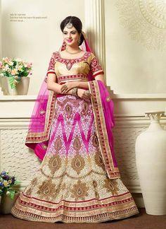 Indian bride - royal pink & golden wedding dress