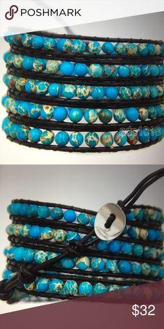 2edf735e867d62 5 STRAND TURQUOISE & SEA SEDIMENT WRAP Beautiful turquoise & sea sediment  jasper 5 strand wrap