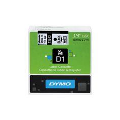 Dymo D1 Standard Tape Cartridge for Dymo Label Makers, 1/4in x 23ft, Black on White